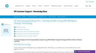 Setting Up RAID Using AMD RAIDXpert Storage ... - HP Support