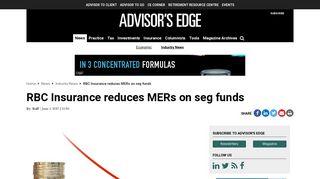 RBC Insurance reduces MERs on seg funds | Advisor