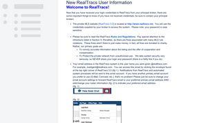New RealTracs User Information - Online Documentation - RealTracs