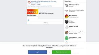 https://reg.mfu.ac.th/registrar/newsdetai... - Hospitality ... - Facebook