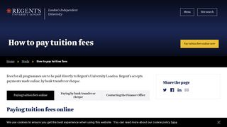 How to pay tuition fees   Regent's University London