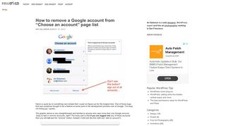 """How to remove a Google account from """"Choose an account"""" page list 
