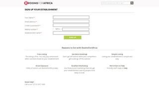 Sign up your accommodation in South Africa - Rooms For Africa
