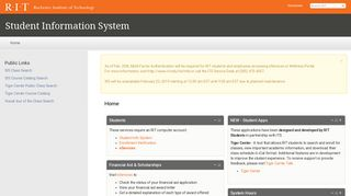 Home | Student Information System - Rochester Institute of Technology
