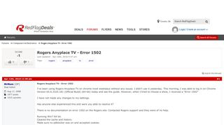 Rogers Anyplace TV - Error 1502 - RedFlagDeals.com Forums