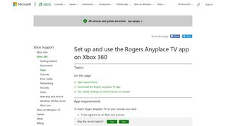 Rogers Anyplace TV on Xbox 360 - Xbox Support