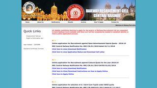 Central Railway Recruitment - Railway Recruitment Cell - Central ...