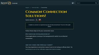 Common Connection Solutions! - RuneScape Support