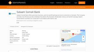 Salaam Somali Bank - IslamicMarkets.com