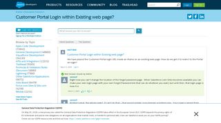Customer Portal Login within Existing web page? - Salesforce ...