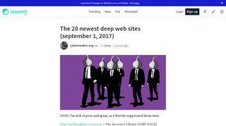 The 20 newest deep web sites (september 1, 2017) — Steemit