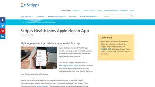 MyScripps Patient Data Available in Apple Health App - Scripps Health