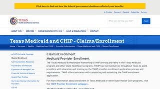 Texas Medicaid and CHIP - Claims/Enrollment | Texas Health and ...