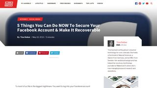 5 Things You Can Do NOW To Secure Your Facebook Account ...