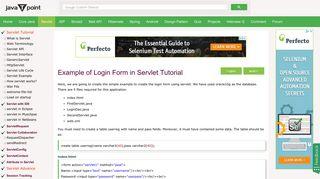 Login form in Servlet - javatpoint