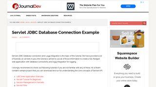 Servlet JDBC Database Connection Example - JournalDev