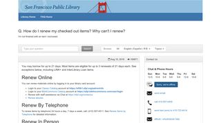 How do I renew my checked out items? Why can't I ... - SFPL - FAQ