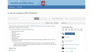 How do I change my PIN / Password? - SFPL - FAQ