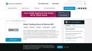 Shaw Tracking Hours of Service API   ProgrammableWeb