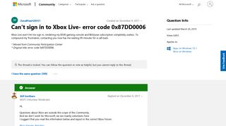 Can't sign in to Xbox Live- error code 0x87DD0006 - Microsoft ...