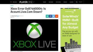 Xbox Error 0x87dd0004: Is Acount.Live.Com Down? | Player.One