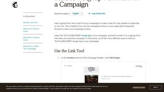 Include a Signup Form Link in a Campaign - MailChimp