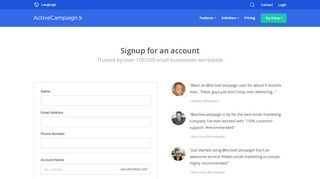 Signup for an account - ActiveCampaign