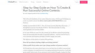 Step-by-Step Guide on How To Run Successful Contests - KickoffLabs