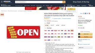 Amazon.com: Signmission Now Open Banner Sign Grand Opening ...