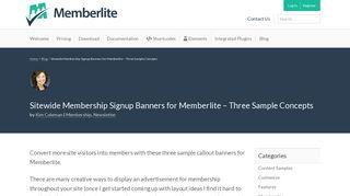 Sitewide Membership Signup Banners for Memberlite - Three Sample ...