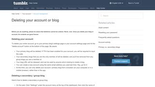 Deleting your account or blog – Help Center - Tumblr
