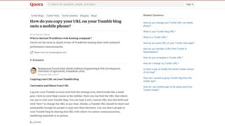 How to copy your URL on your Tumblr blog onto a mobile phone - Quora
