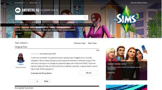 Solved: Sims 3 Password Issue. Not an incorrect password! - Answer HQ