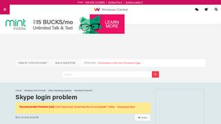 Skype login problem - Windows Central Forums