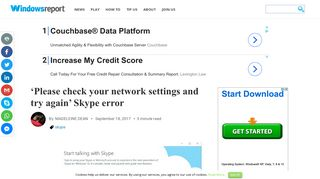 'Please check your network settings and try again' Skype error
