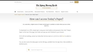 How can I access Today's Paper? - SMH Subscribers