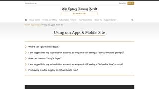 SMH Subscribers - Using our Apps & Mobile Site