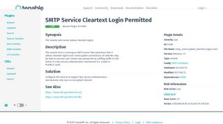 SMTP Service Cleartext Login Permitted | Tenable®