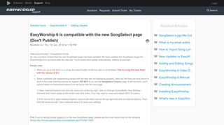 EasyWorship 6 is compatible with the new SongSelect page (Don't ...