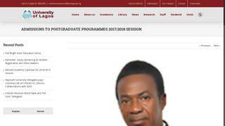 admissions to postgraduate programmes 2017/2018 session - Unilag