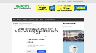 Unilag Postgraduate School: How To Register And Check Result ...