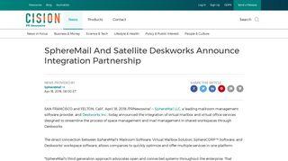 SphereMail And Satellite Deskworks Announce ... - PR Newswire