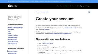 Create your account - Spotify