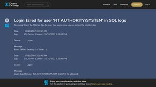 Login failed for user 'NT AUTHORITYSYSTEM' in SQL logs