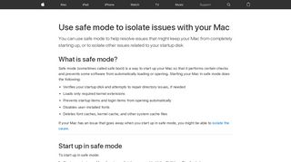 Use safe mode to isolate issues with your Mac - Apple Support