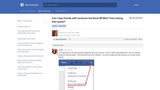 Can I stay friends with someone but block MYSELF from ... - Facebook