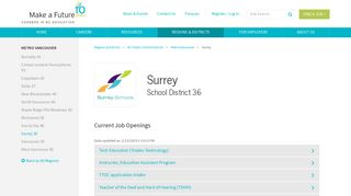 Surrey School District 36 - Careers | Make a Future