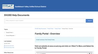 Family Portal - Overview | Family Portal | SVUSD Help Documents
