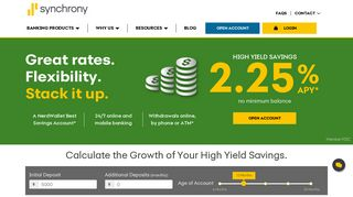 High Yield Savings Account Rates, Features & Calculator | Synchrony ...
