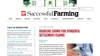 Deadline Looms for Syngenta Settlement Claims   Successful Farming